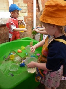 Water play in our outdoor classroom